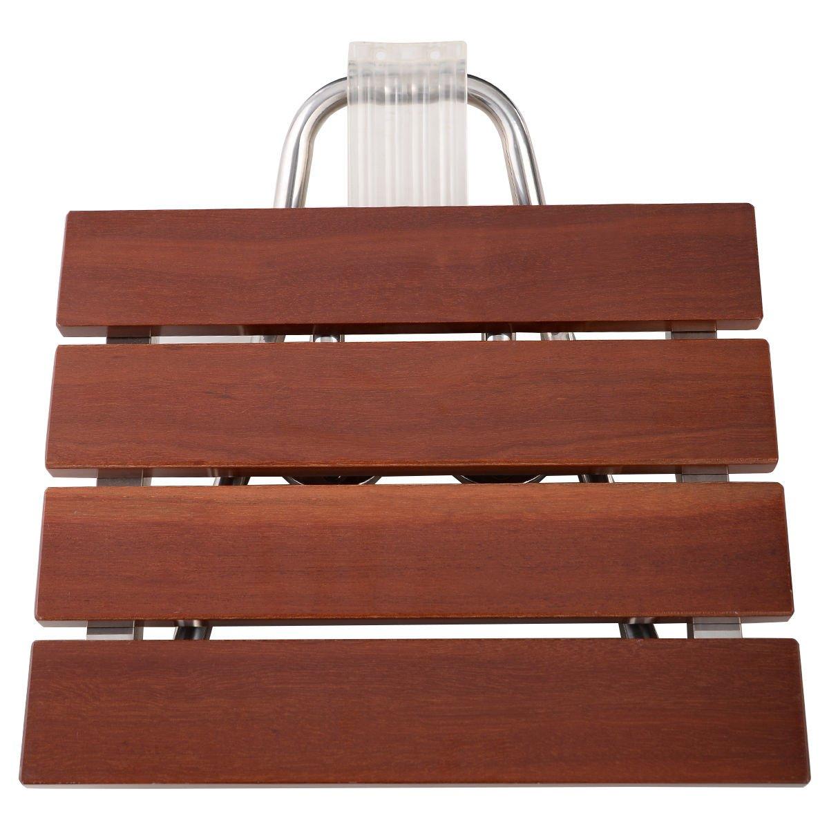 Giantex Folding Bath Seat Bench Shower Chair Wall Mount Solid Wood Construction