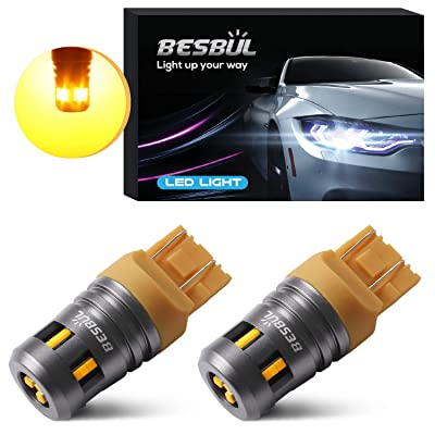 Besbul 7440 LED Bulb Amber, Extremely Bright 7443 T20 W21W LED Bulb High Lumens 12V-40V for Turn Signal Lights, Backup Lights, Brake Lights, Tail Lights, Parking Lights Amber, Pack of 2: Automotive