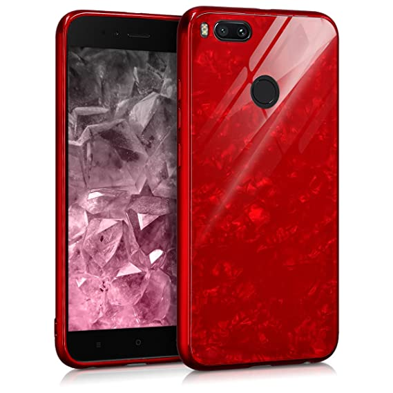 kwmobile Hard Case for Xiaomi Mi 5X / Mi A1 - Scratch-Resistant Protective  Tempered Glass Back Cover - Red