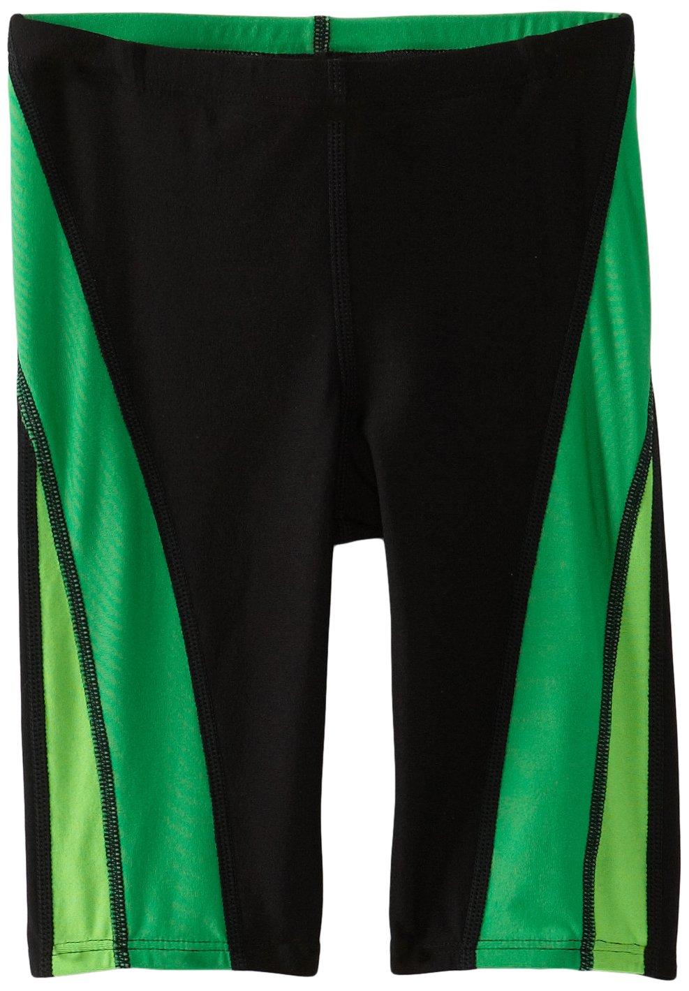 Speedo Men and Boys' Endurance+ Launch Splice Jammer Swimsuit, Black/Green, 22