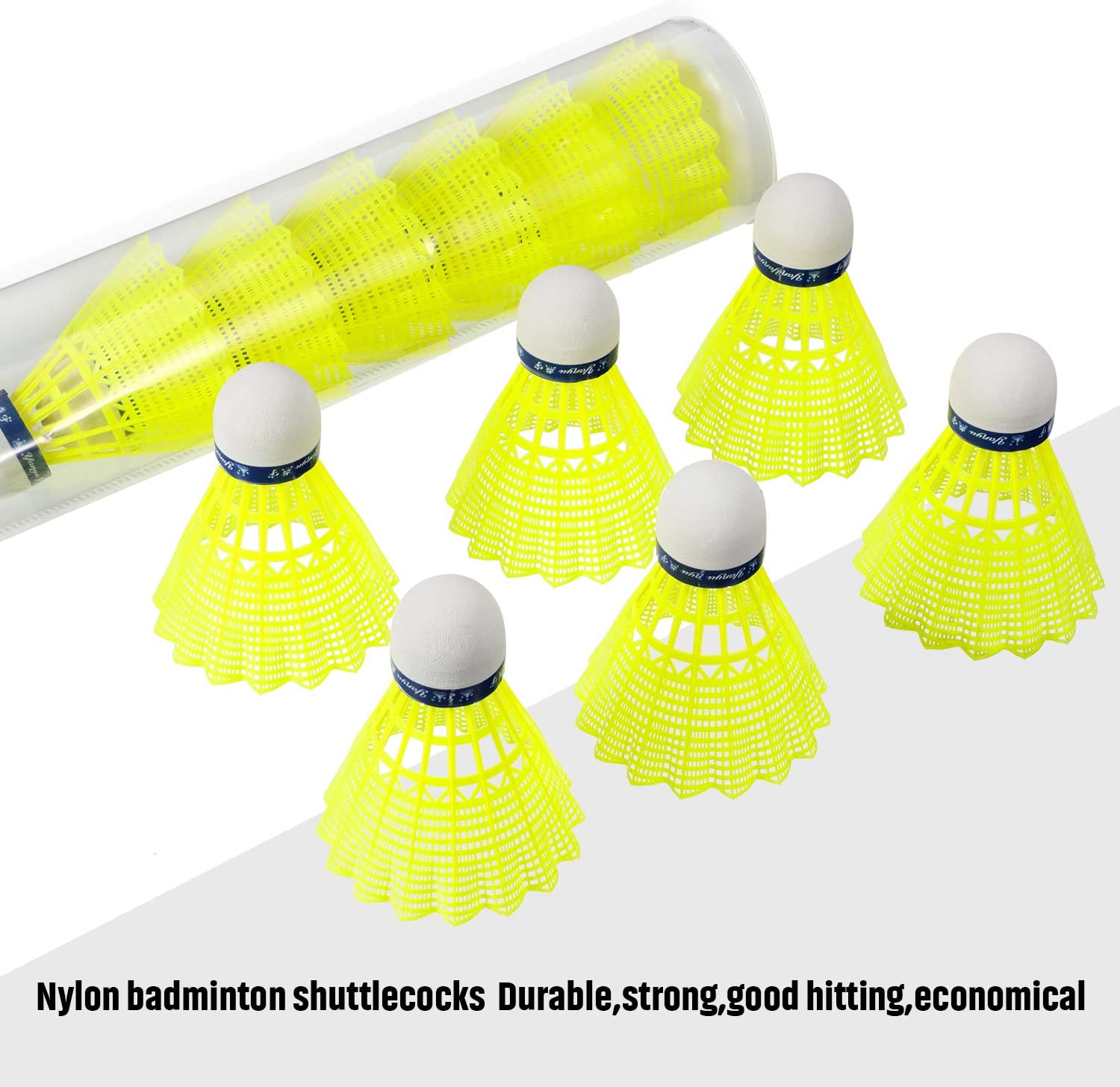 6x Badminton Sports Nylon Shuttle Cocks In A Pack different colours