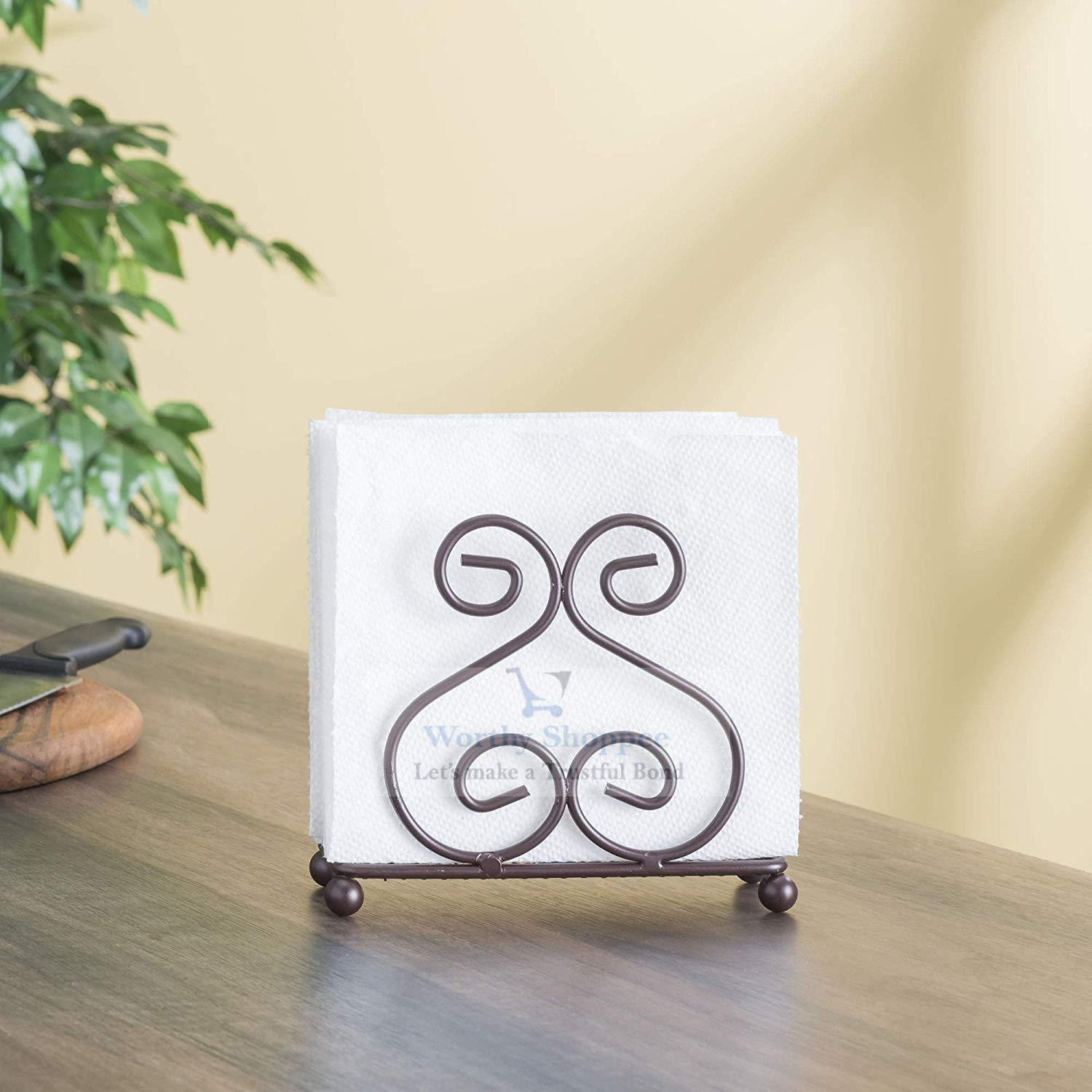 Worthy Shoppee Iron Napkin Holder for Dining Table, Tissue Paper Stand