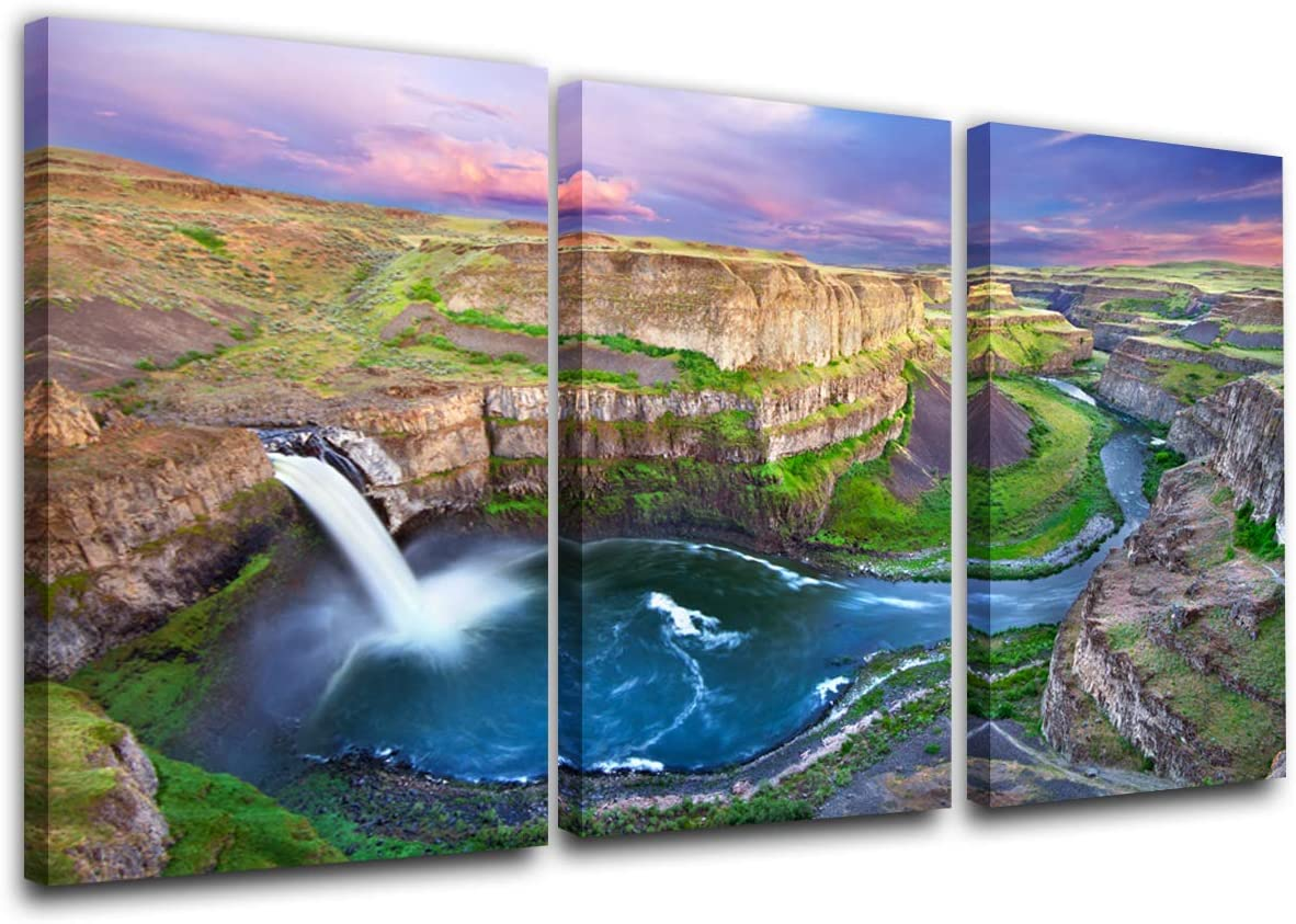 Wall Pictures for Living Room View of Palouse Falls State Park at Sunset Paintings 3 P Canvas Wall Art Washington, USA Pictures Home Decor for Living Room Framed and Stretched Ready to Hang(24''x36'')