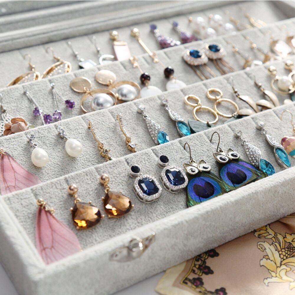 Earrings Colliers pendentifs Mayner Bo/îte de Rangement en Velours avec Couvercle Transparent pour Boucles doreilles organisateurs de Bijoux