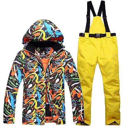 miju Chaqueta Esqui Hombre Pantalón Impermeable, Traje de Snowboard Abajo Cálido Impermeable Hombre Tamaño Grande