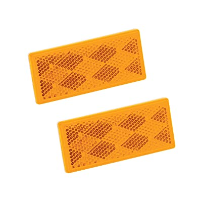 "Bargman 74-71-181 Reflector (Class A 3-1/4"" x 1-1/2"" Rectangular Amber with Adhesive Back - 2 Pack): Automotive"