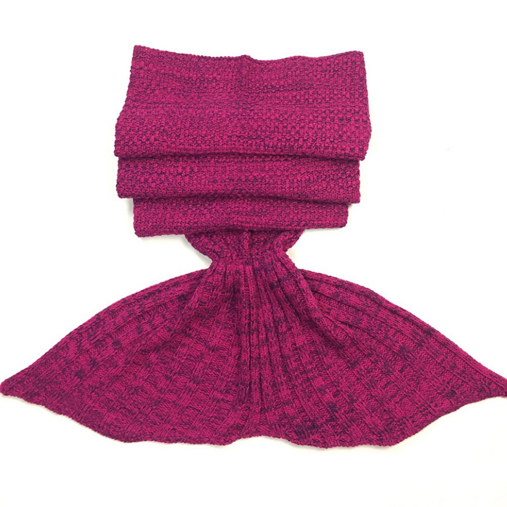 Roluck Mermaid Tail Blanket Handmade Warm Keeper Autumn Winter Blanket for Girls (Rose Red) by Roluck (Image #3)