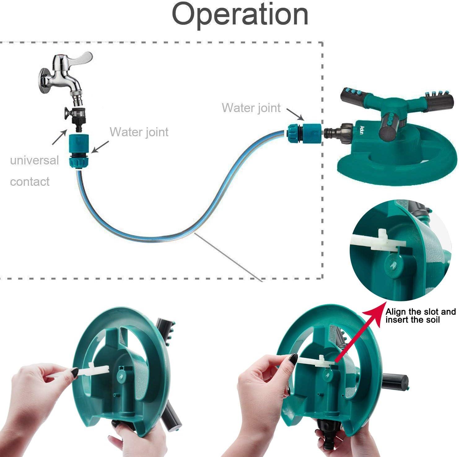 Aolun R108 Garden Sprinkler Arm Rotating Sprinkler System Automatic Lawn Water Sprinkler 360 Degree 3