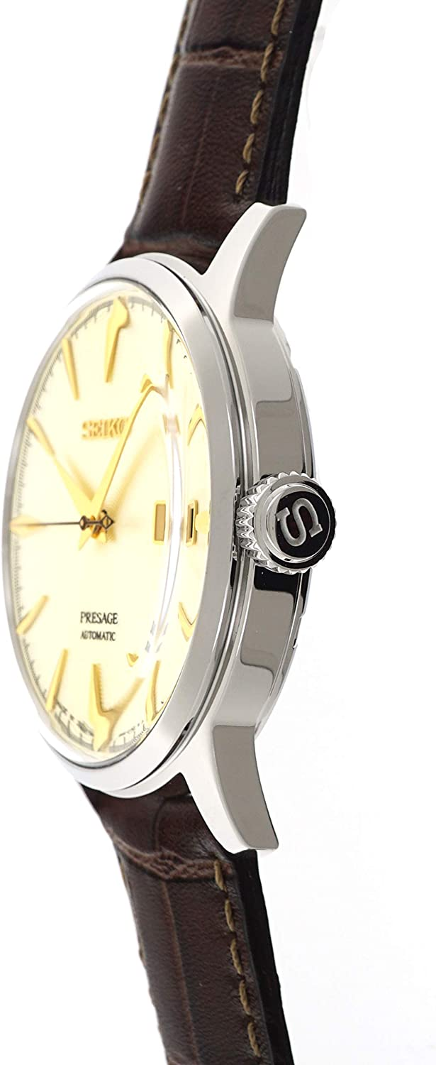 SEIKO PRESAGE Automatic Cocktail Time Golden Champagne Brown Leather Watch SRPC99J1