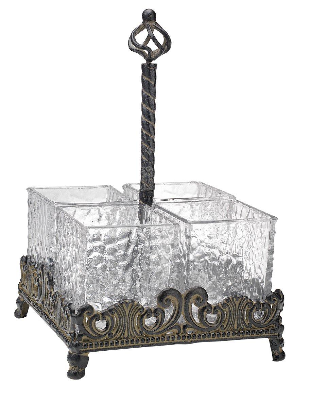 Elegant Home Set of Four Glass on Metal Rack Flatware Caddy Organizer Set. by HC (Image #1)