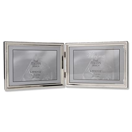 Amazon.com - Lawrence Frames Polished Silver Plate 5x7 Hinged Double ...