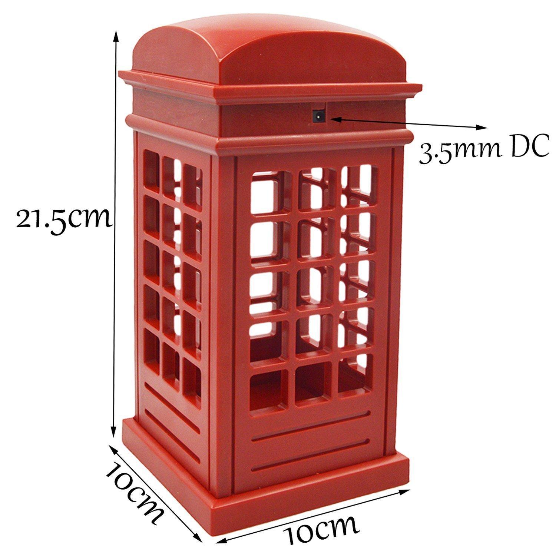 Vintage London Telephone Booth Designed USB Charging LED Night Lamp Touch Sensor Table Desk Light Touch Panel Power-Saving Light