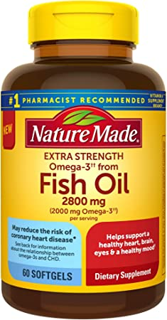 Nature Made Extra Strength BurpLess Omega 3 Fish Oil 2800 mg Helps Support a Healthy Heart Brain Eyes and Mood, 60 Count
