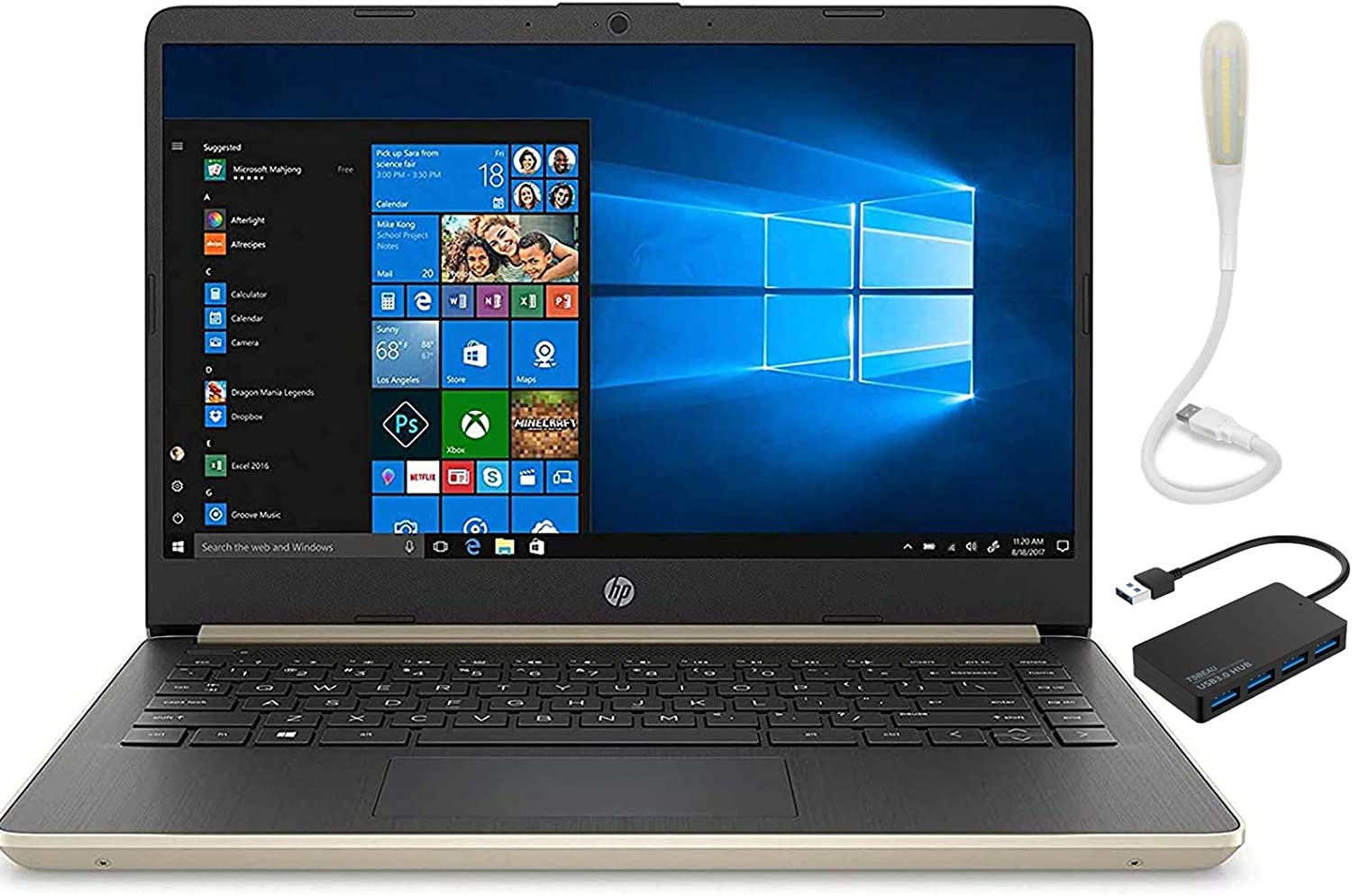 HP 14 Laptop, Intel Core i5-1035G1 Upto 3.6GHz, 16GB RAM, 256GB SSD+16GB Optane, HDMI, Webcam, Bluetooth, Windows 10 Home,Pale Gold, Bundled with TSBEAU 4 Port USB 3.0 Hub + USB LED Light