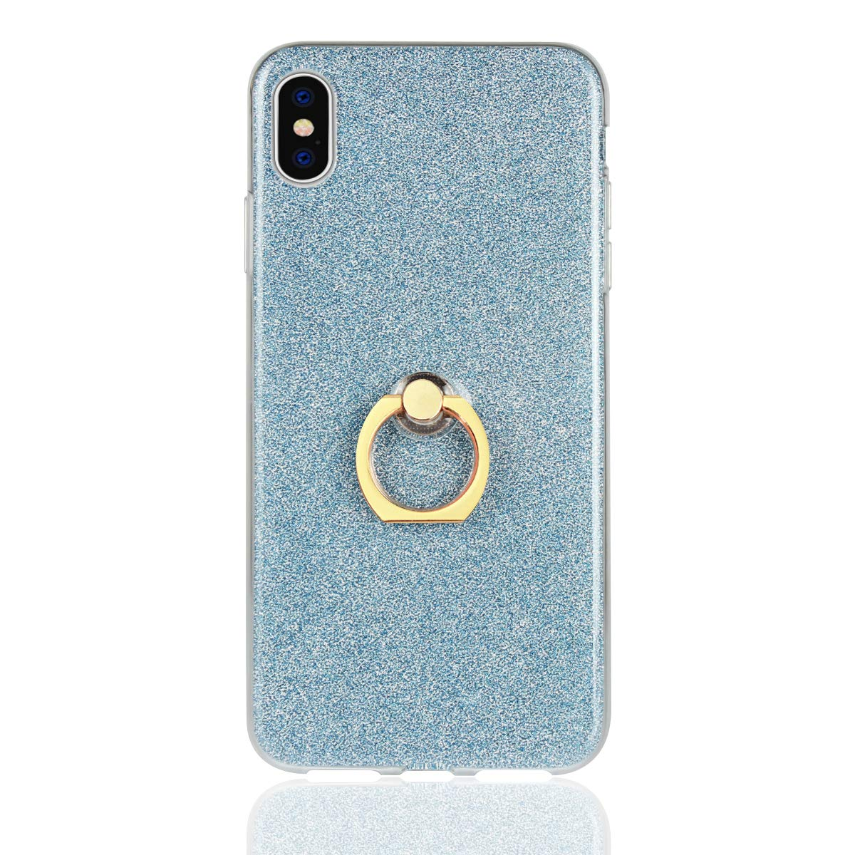 BtDuck iPhone XS Max Case Glitter Soft TPU Silicone Case Finger Grip Ring Phone Protector Shiny Bling Case Silver Clear View Crystal Cover Cute Case Gold Holster Skin Slim Fit Phone Protector Case