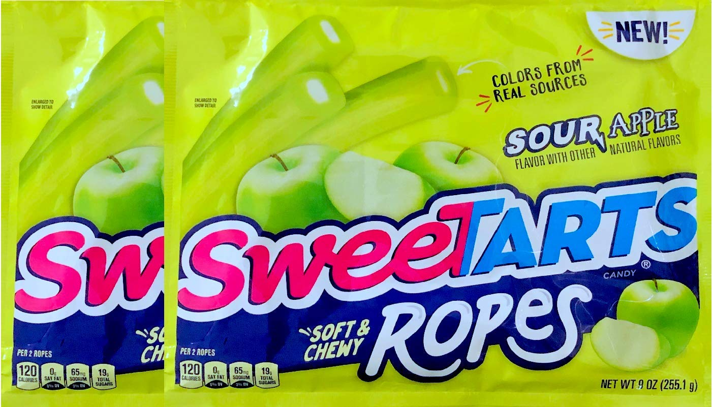 NEW Sweetarts Sour Apple Soft & Chewy Ropes Net Wt 9oz (2) by SweetartsRopes