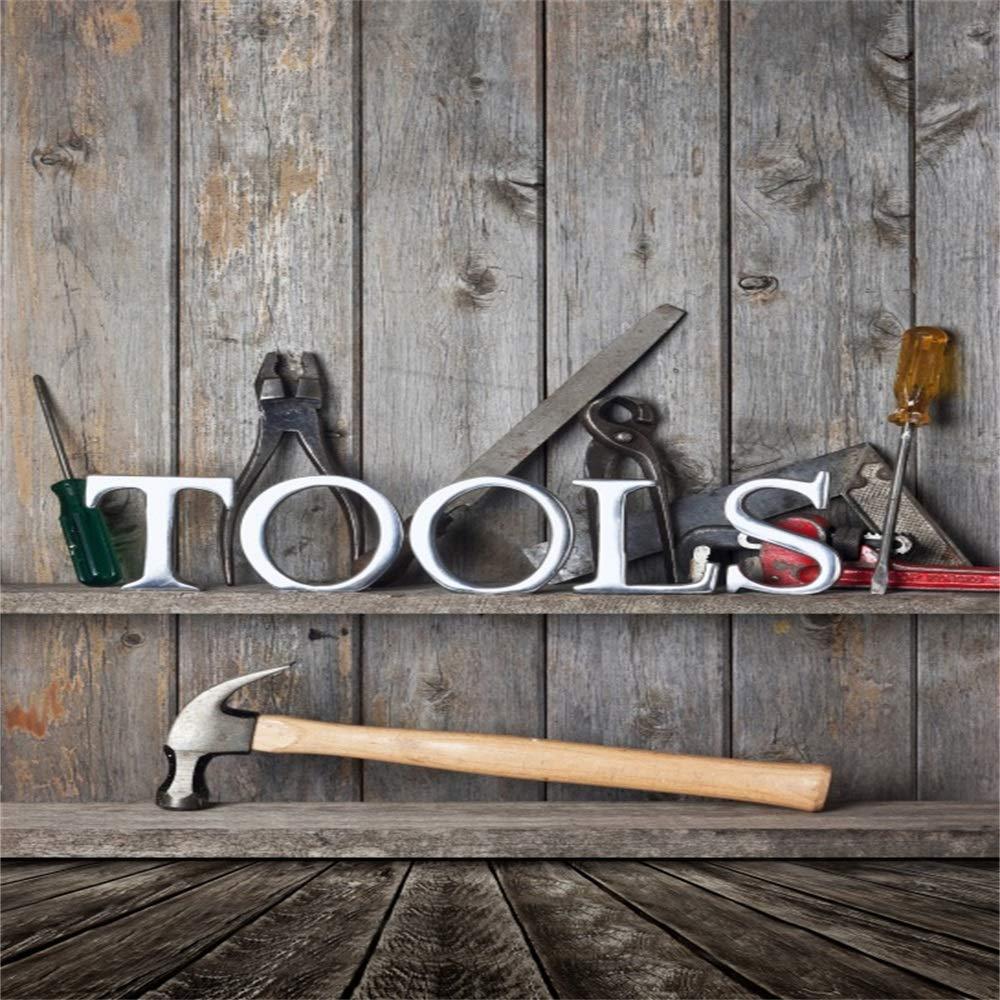 Baocicco Tools 木製背景 10x10フィート ビニール写真 背景 グランジ木製ボード 背景 楽器 労働 仕事 休暇 米国労働日 自由 祝祭日   B07GD8MLFP