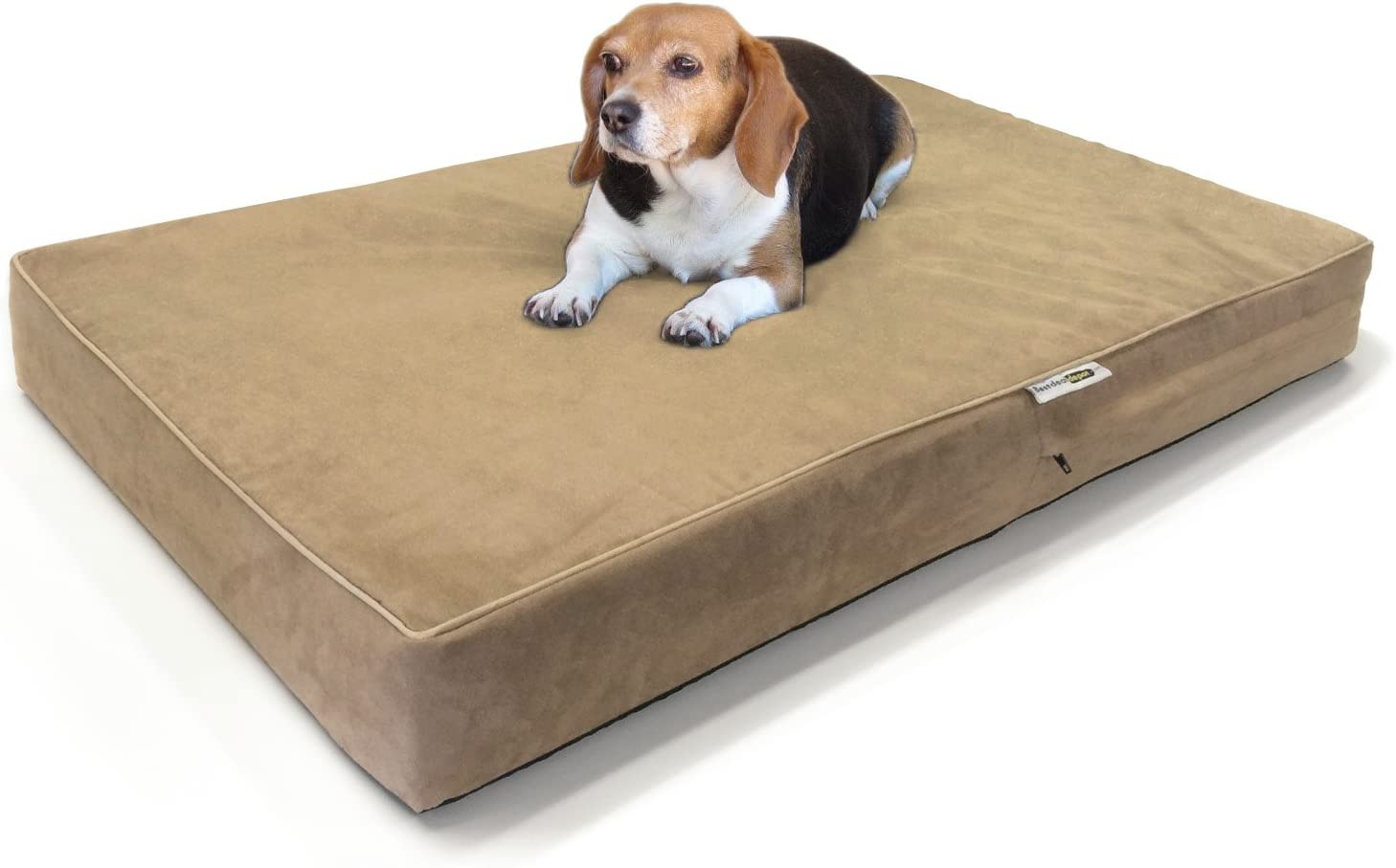 Large Dog Bed Premium Solid Memory Foam Pet Bed Dog Mat with Waterproof Cover Color Khaki , Size 40 x35 x4