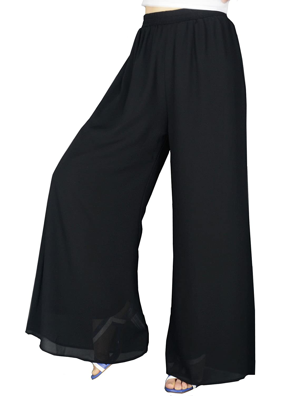 Vintage Wide Leg Pants 1920s to 1950s History YSJERA Womens Chiffon Wide Leg Palazzo Pants Maxi Full Length Solid Gaucho Pants Culottes Trousers $21.99 AT vintagedancer.com