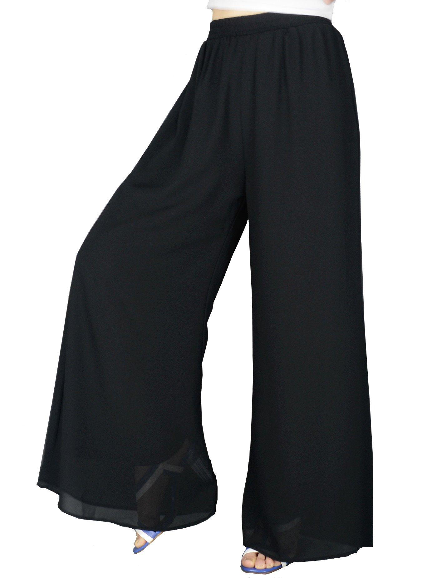 YSJERA Women's Chiffon Wide Leg Palazzo Pants Solid Gaucho Pants Culottes Trousers M,Black