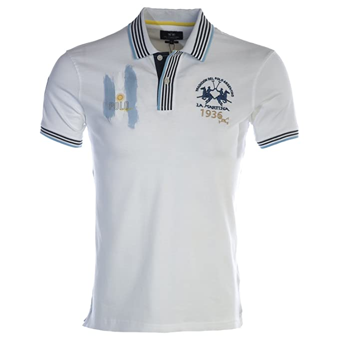 La Martina Hombres Camisa de Polo Slim Fit Escobar XL Blanco ...