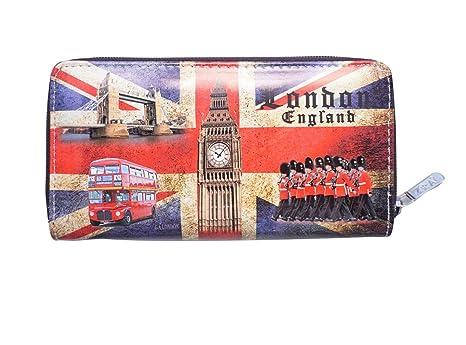 Londres Inglaterra Famosos Iconos Imágenes Diseño de Bandera británica Tipo Cartera Monedero con Cierre De Cremallera