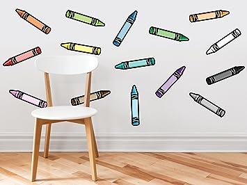 Amazon.com: Crayon Fabric Wall Decals - Set of 15 Coloring Crayons ...