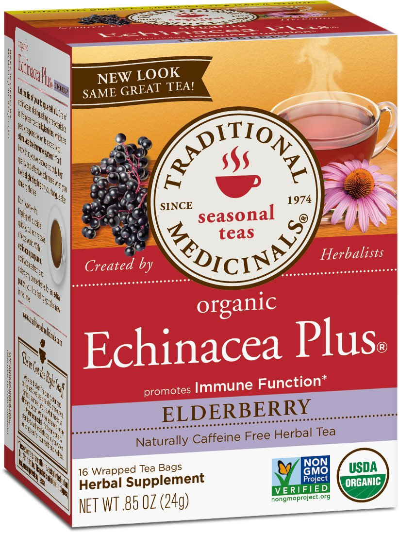 Traditional Medicinals Organic Echinacea Plus Elderberry Tea, 16 Tea Bags (Pack of 6)