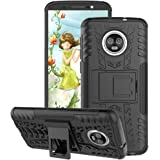 Motorola Moto G6 Case 2018, GSDCB Air Cushion Heavy Duty Shockproof Phone Stand Protective Case with Kickstand Hard PC Back Cover Soft TPU Dual Layer Protection for Women Men Girls Kids Boys (Black)