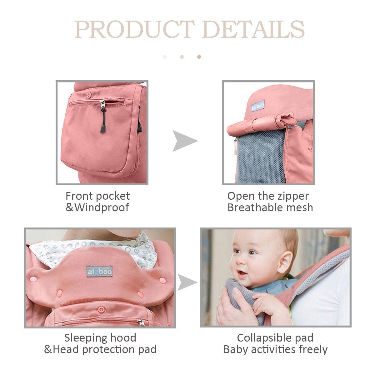 Rosa SONARIN Vier Jahreszeiten Ergonomische Hipseat Baby Carrier Babytrage,Oxford Stoff,6 Tragepositionen,Atmungsaktive Mesh-Unterst/ützung,Freie Gr/ö/ße,100/% Unbegrenzt Garantie,Ideal Geschenk