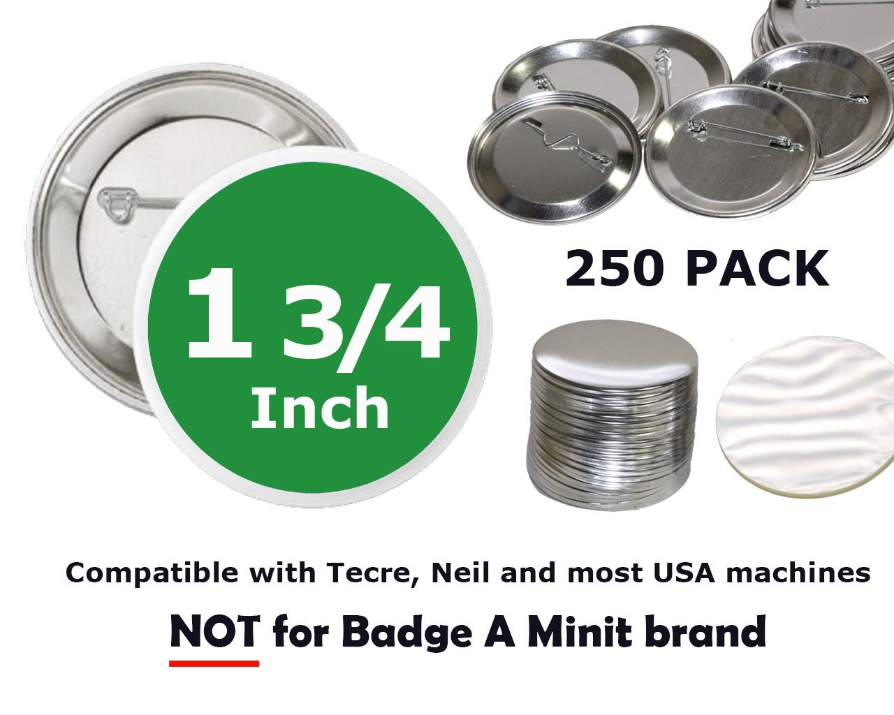 1.75 inch Round BackPin Buttons (250 Pack) Sets for Badge Making 1 3/4'' (44 mm) by Upick Deals