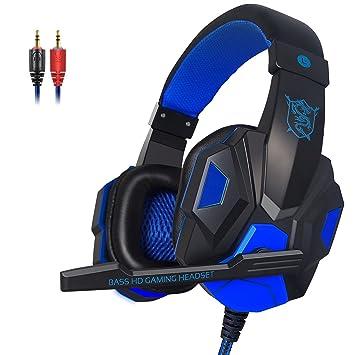KanCai Cascos Auriculares Gaming con Micrófono Headset Auricular Gamer Juegos Jack 3,5mm Ultra-