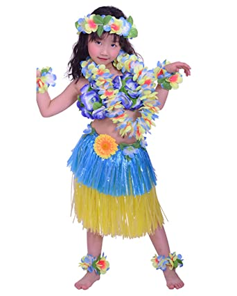 Kids Hawaiian Hula Dance Costume Ballet Performance Layered Dress Skirt Garland For Girl Child 40CM Full