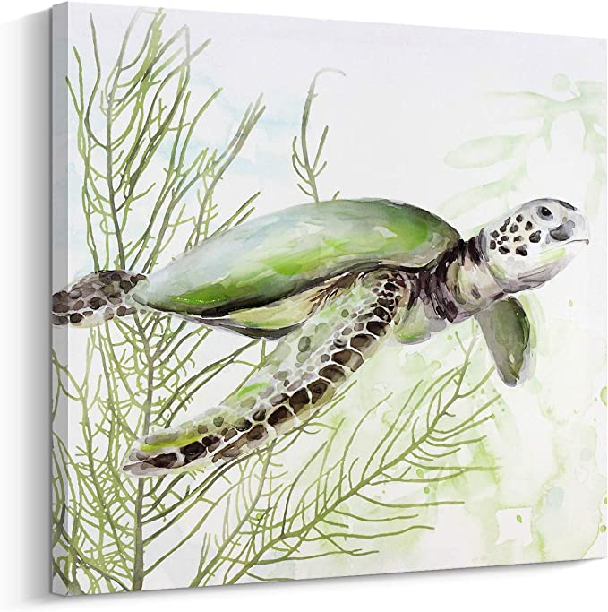 Amazon Com Canvas Wall Art Ins Style Green Sea Turtle Painting Hand Painted On Canvas Print Wall Decor Stretched And Ready To Hang 24 X24 Sea Turtle Posters Prints