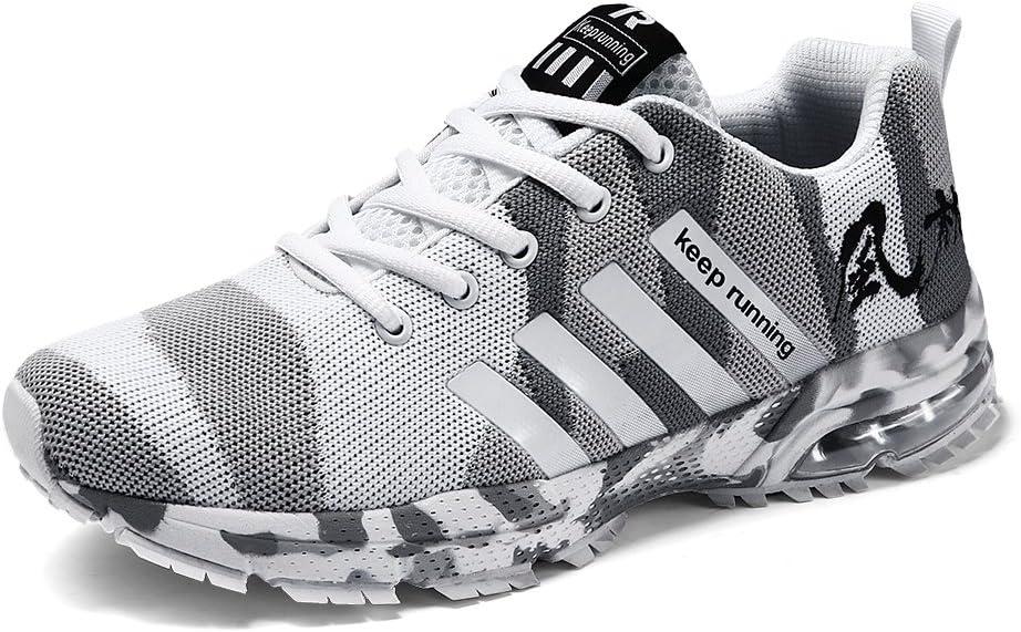 CAGAYA Zapatillas Running para Hombres Mujer Transpirables Casual Aire Libre y Deporte Zapatos Gimnasio Correr Sneakers 36-46 (40, Blanco): Amazon.es: Zapatos y complementos
