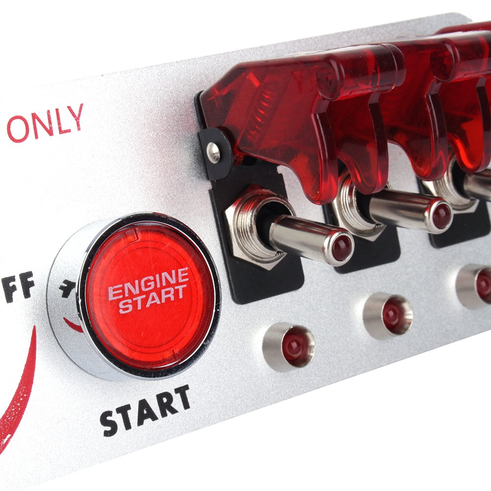 5 In 1 DC 12V Flip-up Ignition Toggle Switch Panel Car Engine Start Push Button Led Toggle Switch for Racing Sport Competitive Car with Red LED Indicator