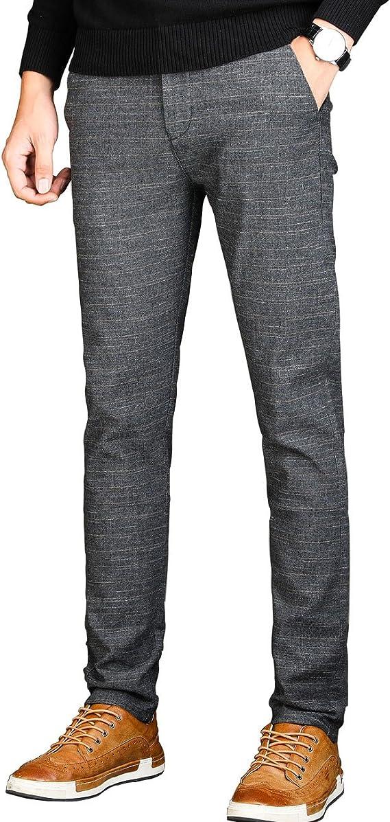 Pantalones De Vestir Ajustados Para Hombre Sin Arrugas Casual Elasticos Ajustados Con Parte Delantera Plana Tapered 38 Clothing Amazon Com