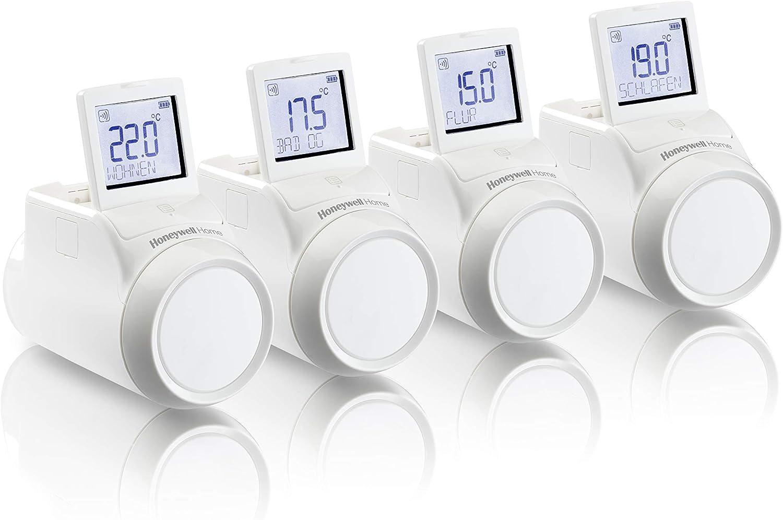 Honeywell Home THR0924HRT Termostatos de radiador inalámbricos para Sistema evohome, Modelo Europeo, Blanco (Pack de 4)