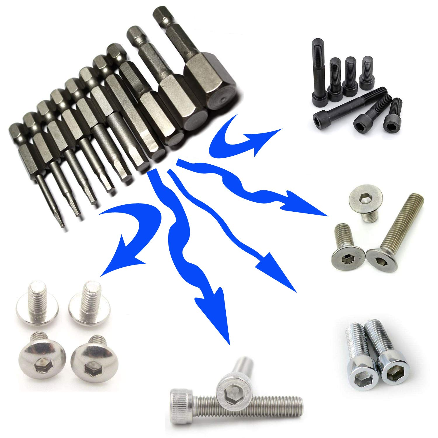 Neepanda 10 Pack Hex Magnetic Head Allen Wrench Drill Bits 10 Sizes 1//4 Inch Quick Release Hex Shank Screwdriver Set - 2 Inch Long, Solid S2 Steel Alloy, 1.5//2//2.5//3//4//5//6//8//10//12 mm