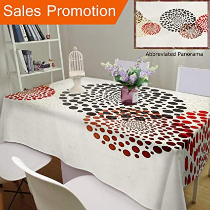 Unique Design Cotton And Linen Blend Tablecloth Abstract Decor Modern Cool  Decoration With Dots Like And