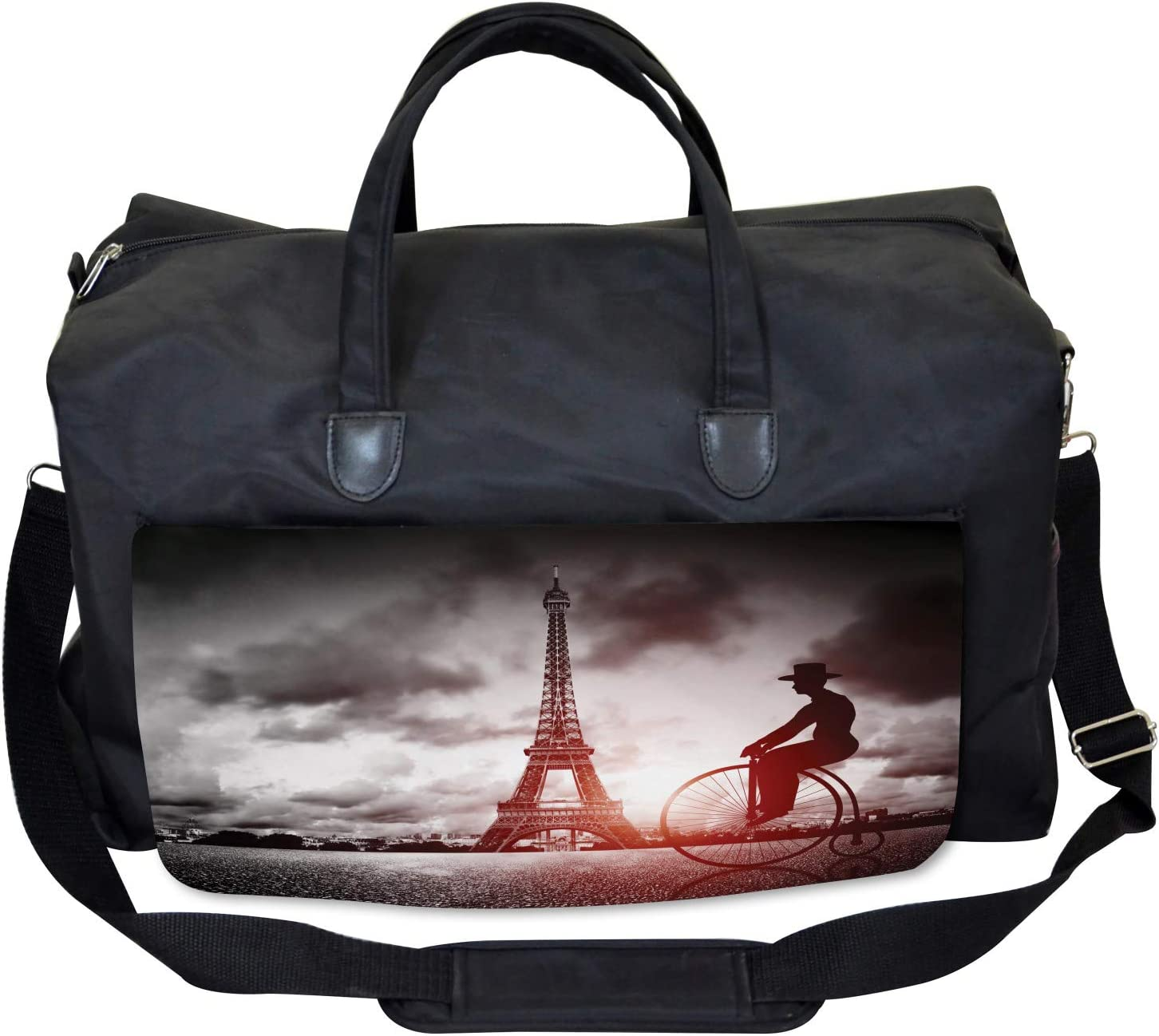 Large Weekender Carry-on Man on Retro Bicycle Ambesonne Eiffel Tower Gym Bag