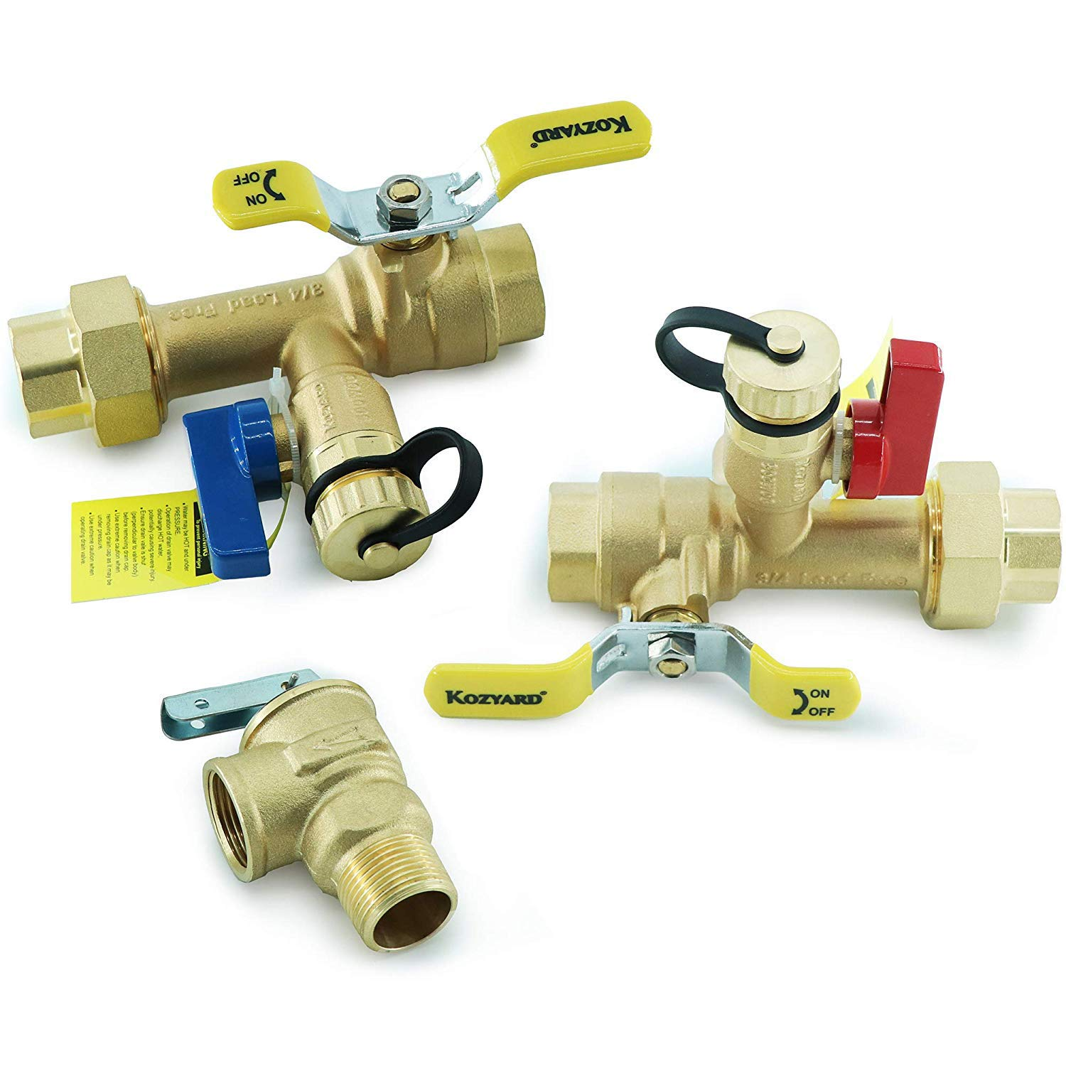 Kozyvacu 3/4-Inch IPS Isolator Tankless Water Heater Service Valve Kit with Clean Brass Construction by Kozyvacu