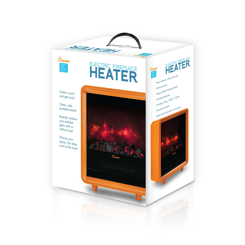 Amazoncom Crane Mini Fireplace Heater Orange Home  Kitchen - Energy efficient electric fireplace