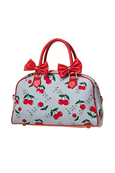 0473b2a4dc11 Banned Rockabilly Cherry Cherrys Handbag (Light Blue)  Amazon.co.uk  Shoes    Bags