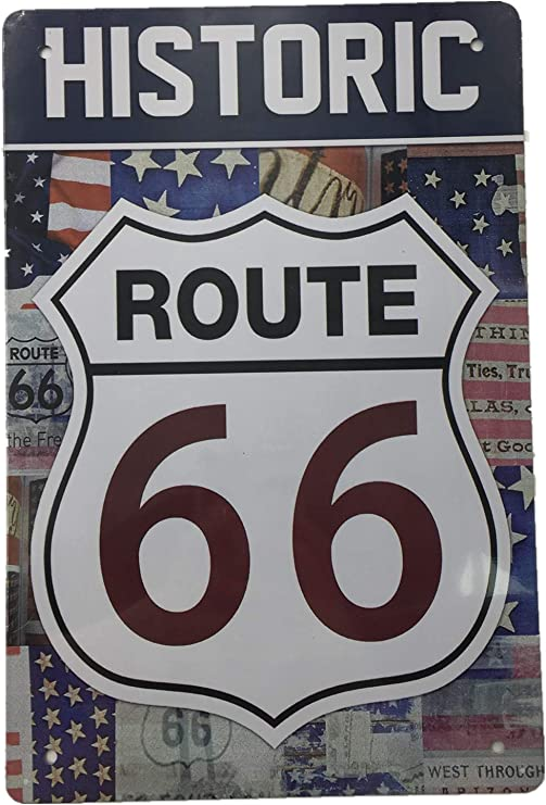 Metal Tin Sign historic route 66  Bar Pub Home Vintage Retro Poster Cafe ART