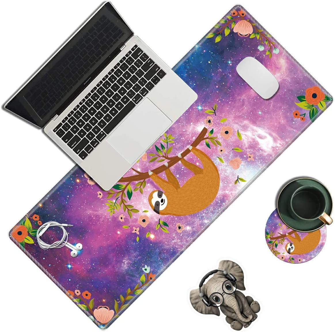 Desk Pad, Cute Sloth Laptop Desk Mat,Long Large Gaming Mouse Pad with Stitched Edges Non-Slip Writing Mat Desk Blotter Protector for Office Home (with Coaster & Elephant Sticker)