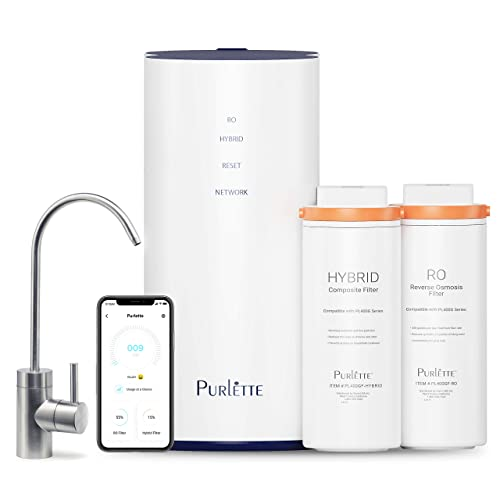 Tankless Reverse Osmosis Water Filtration System Purlette Hybrid 5-Stage Under Sink Home Water Purifier 400 GPD 0.0001 m micron DOW RO Filter w Efficient 1.5 gallon filtered 1 gallon drain