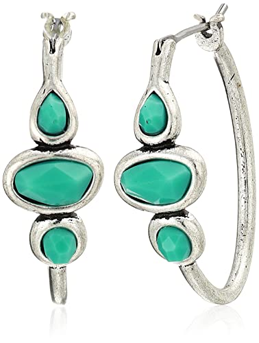 3f4bd7ba3 Amazon.com: Lucky Brand Turquoise Hoop Earrings, Silver, One Size ...