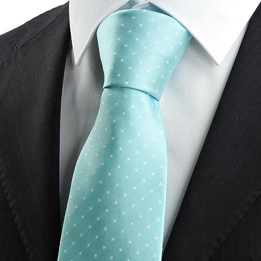 Nuevo Blanco Dot Verde Menta Azul Jacquard traje de para hombre ...