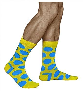 vitsocks Calcetines Divertidos Amarillos con Grandes Puntos Azules Funky para Hombres, Joy, 39-42: Amazon.es: Ropa y accesorios